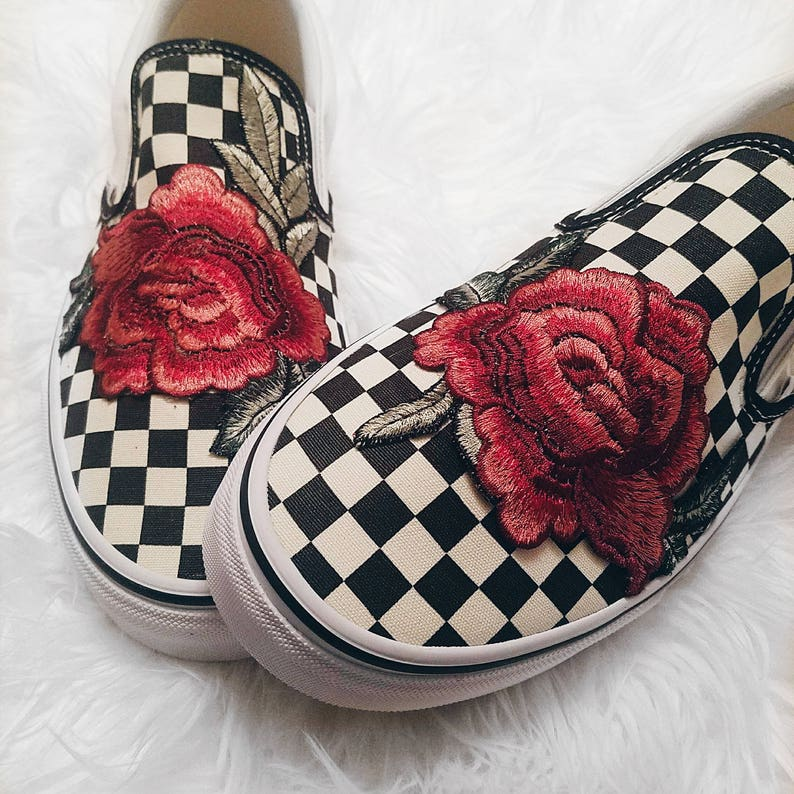 d2532cc300f1 Unisex Checkered Slip On Custom Rose Floral Embroidered Patch