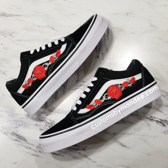 Barbed Wire Rose Custom Embroidered Patch Vans Old Skool Sneakers