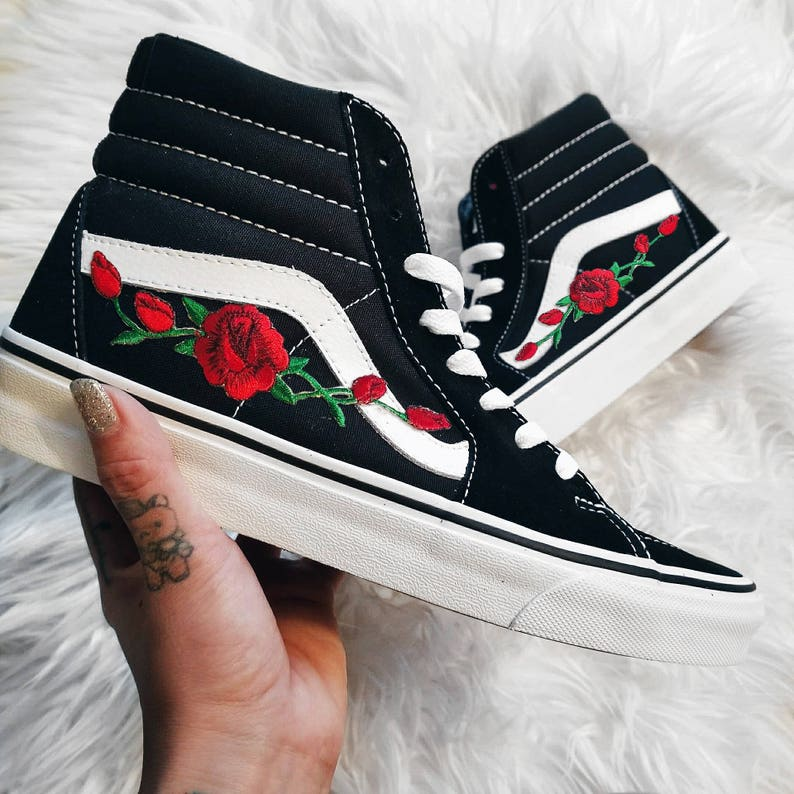 48f7c3d189 Unisex Sk8-Hi Rose Buds Red Blk Custom Rose Floral Embroidered