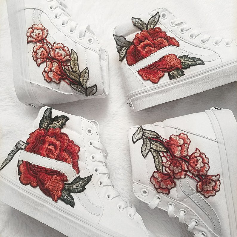 70136788982e Unisex True White Custom Rose Floral Embroidered Patch Vans