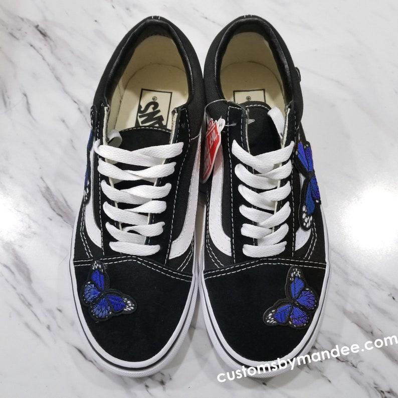 Blu Farfalle Custom Ricamate Patch Vans Old Skool Sneakers