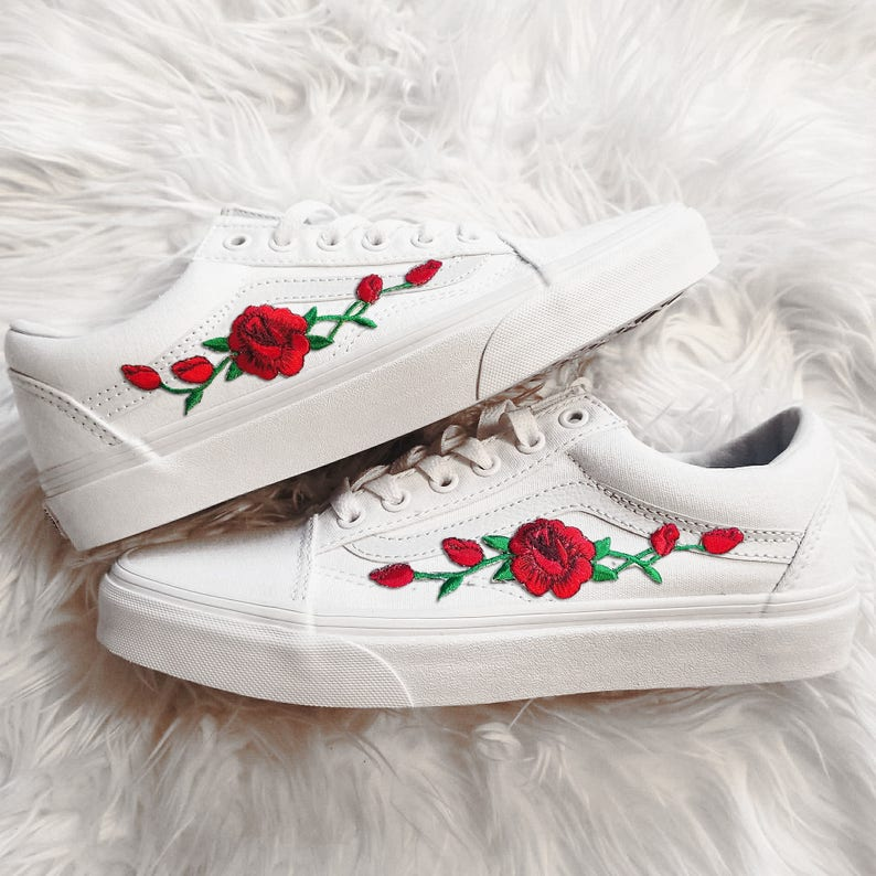 87641ca9d54d0 Rose Buds Red/Wht Unisex Custom Rose Embroidered-Patch Vans Old-Skool  Sneakers