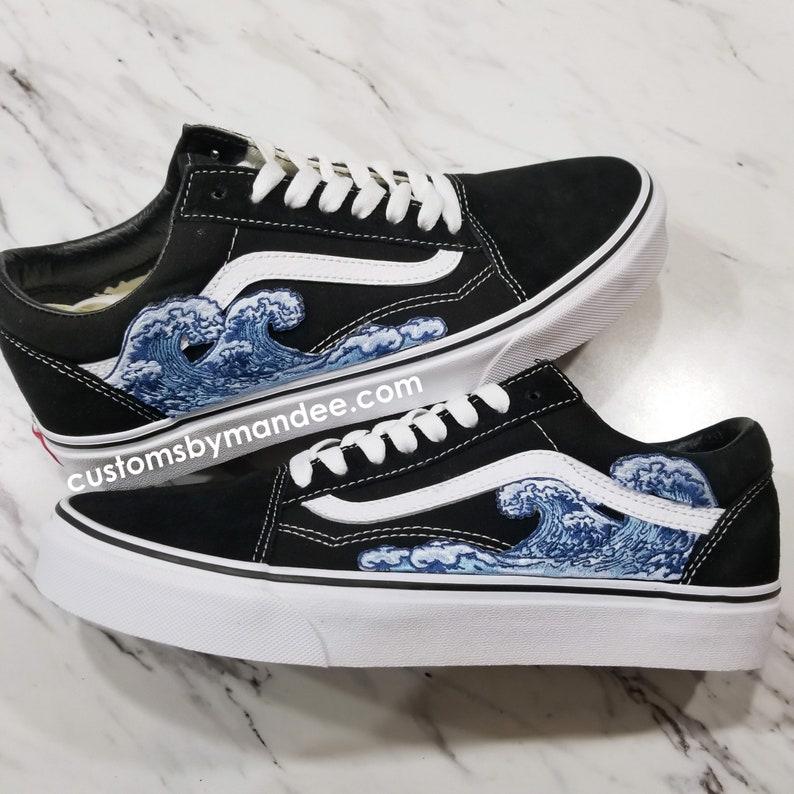 Onde Custom ricamato Patch Vans Old Skool Sneakers