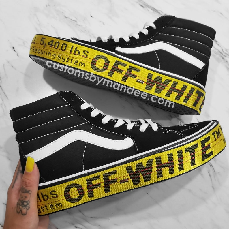 Sk8-HI Platform 2.0 Off-White Inspired Womens Custom Vans