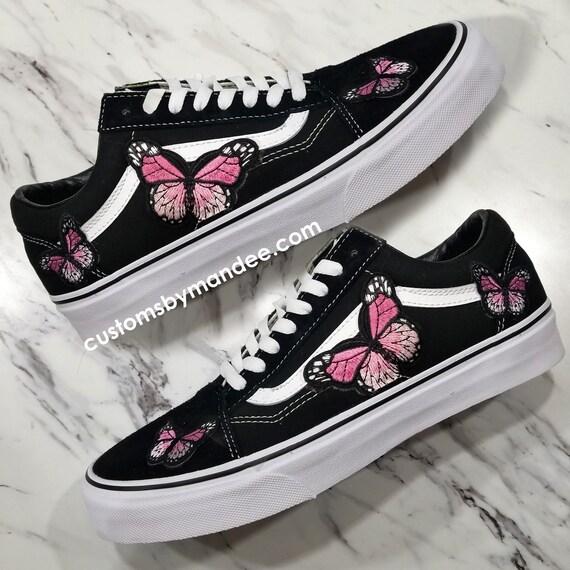 Roze vlinders aangepaste geborduurd Patch Vans Old Skool Sneakers
