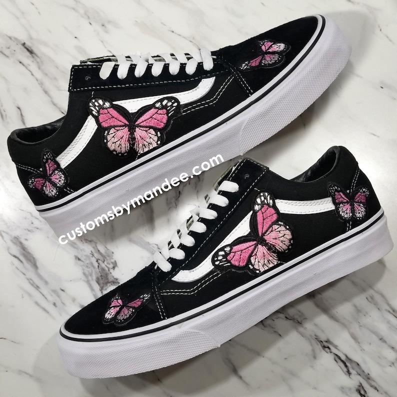 b12f3d2cdd Pink Butterflies Custom Embroidered-Patch Vans Old-Skool