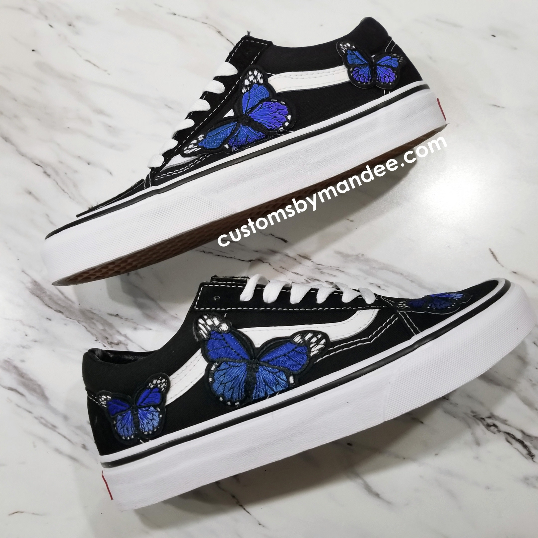02947ad4371be Farfalle blu personalizzato Patch ricamato Vans Old-Skool Sneakers