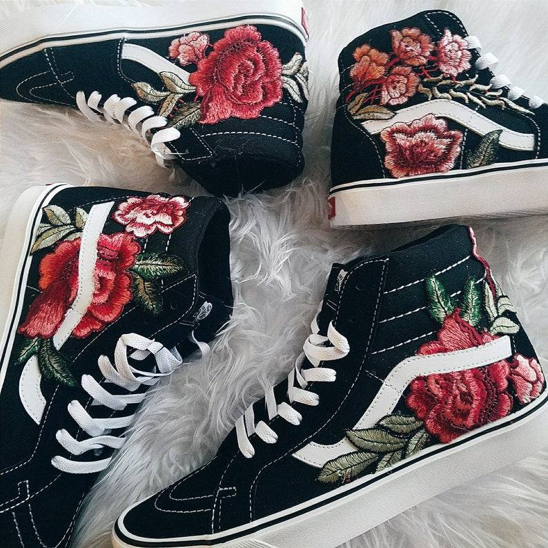 a3abcc75590f Unisex Custom Rose Floral Embroidered Patch Vans Sk8-HI