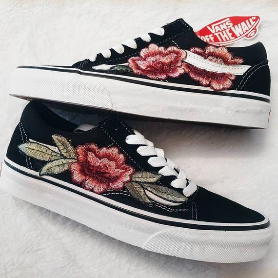 LAGE TOP Unisex aangepaste Rose bloemen geborduurde Patch Vans Old Skool Sneakers