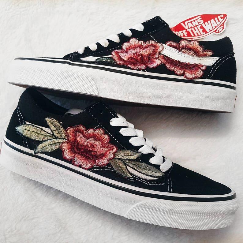 vans old skool roses rouges