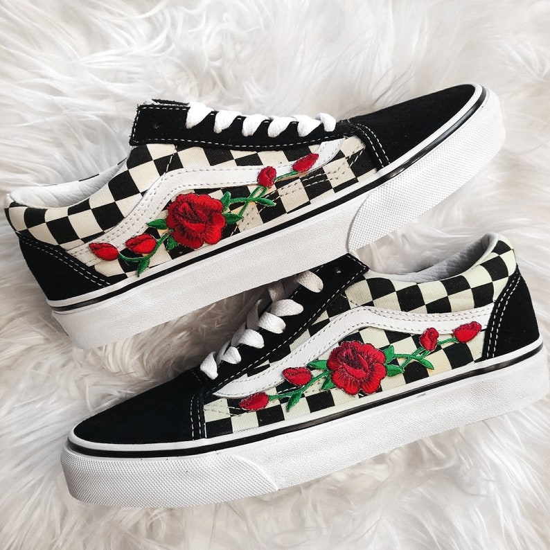 19dbcb8496cb Checkered RoseBuds Custom Rose Embroidered-Patch Vans | Etsy