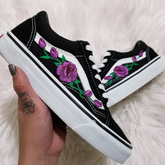 vans rose noir