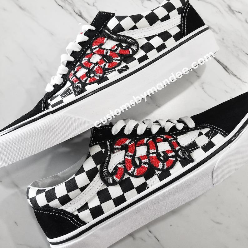 efb80a1512d823 Checkered Snake Unisex Custom Vans Old-Skool Sneakers