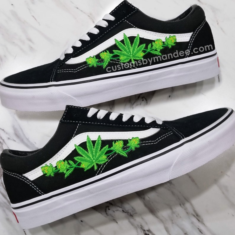 3f4d8c1c6044 Weed Leaf Custom Embroidered-Patch Vans Old-Skool Sneakers | Etsy