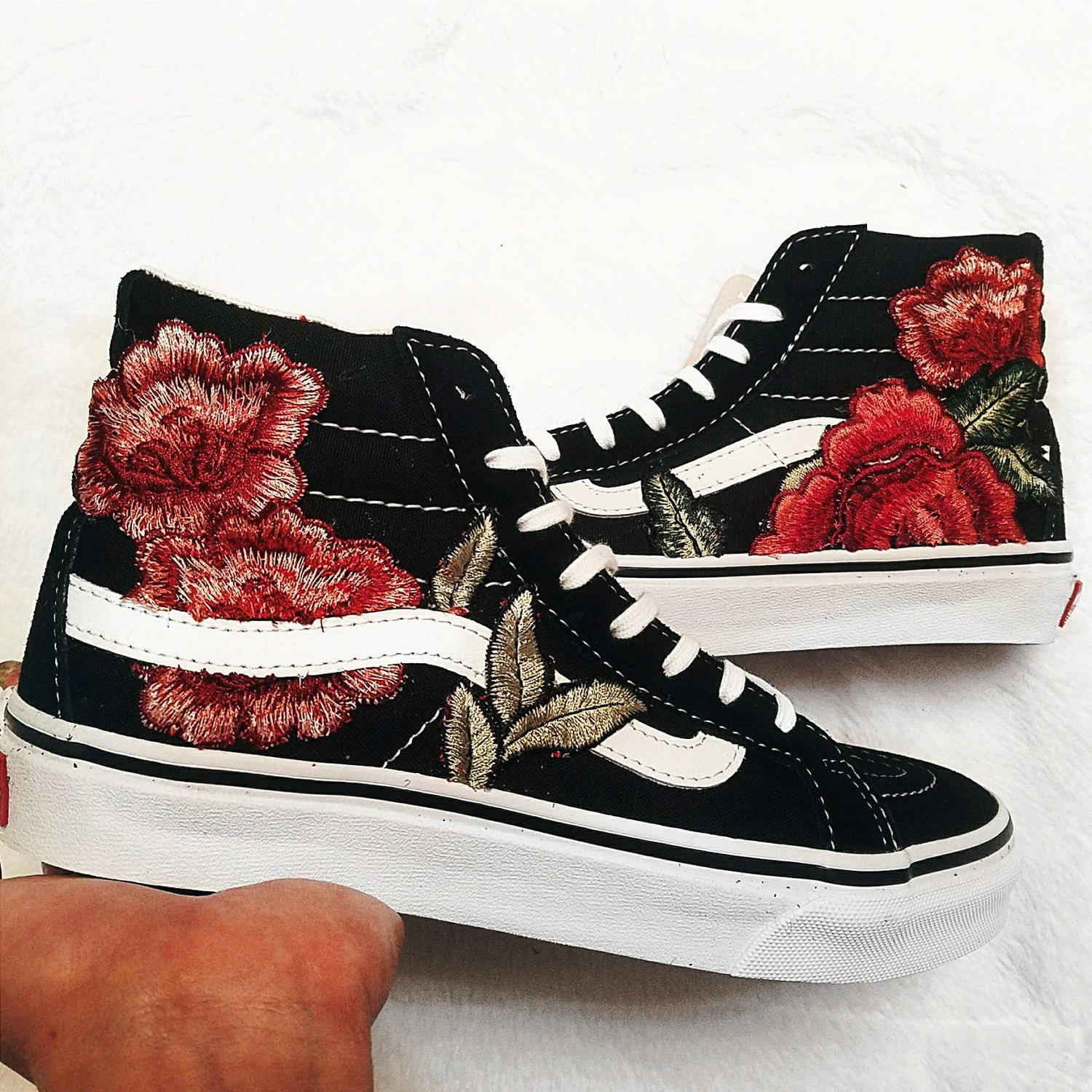 d84b03108c96 Womens Custom Rose Floral Embroidered Patch Vans Sk8-HI SLIM