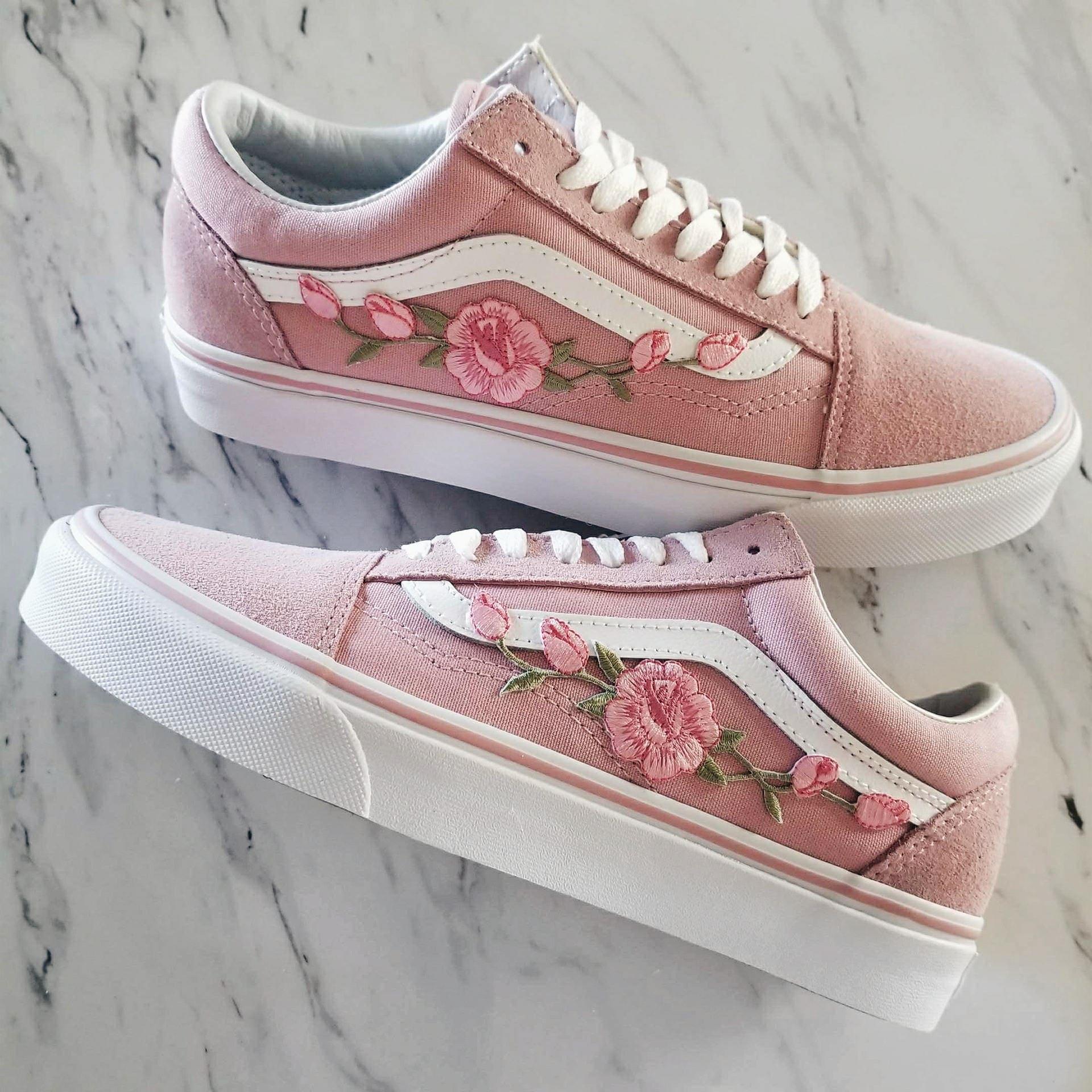 Pink/rosa Rosenknospen Custom Vans Old-Skool Sneakers