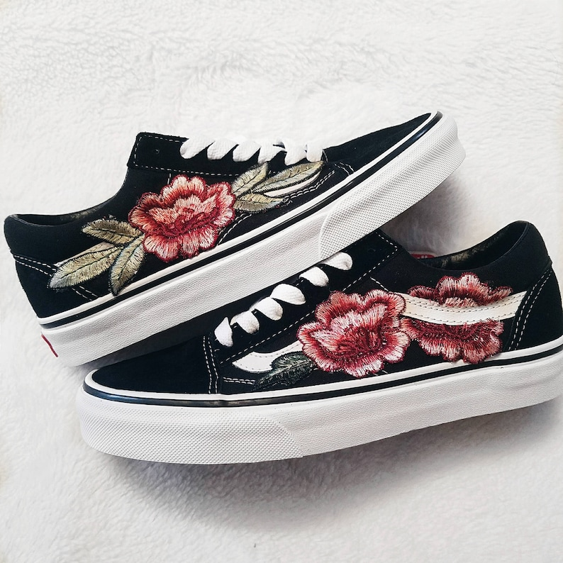 0b82cc8845 LOW TOP Unisex Custom Rose Floral Embroidered Patch Vans