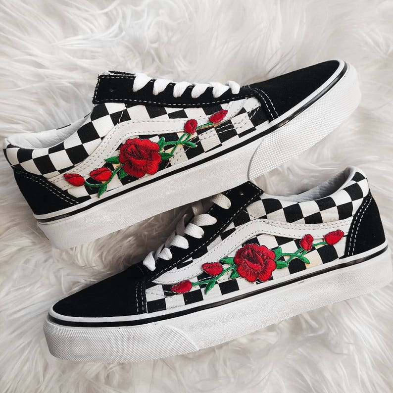 3f9337078c Checkered RoseBuds Custom Rose Embroidered-Patch Vans