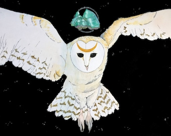 Midnight Flight | Spirit Animal Watercolor Painting Greeting Card, Art Print | Barn Owl + Emerald Wilderness Mystic Painting