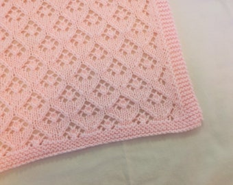 c8969b77dff7 Pink Hand Knit Baby Blanket - Lace Arrowhead Design