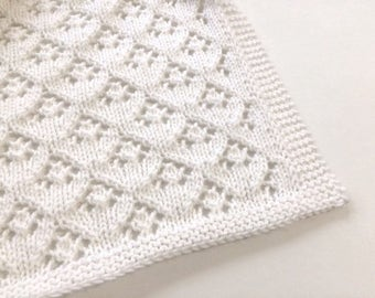 0522cf3a5833 White Hand Knit Baby Blanket - Lace Arrowhead Design