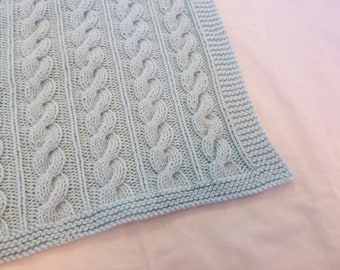 497e1bd65fd3 Bright Green Hand Knit Baby Blanket Leaf Lace Design