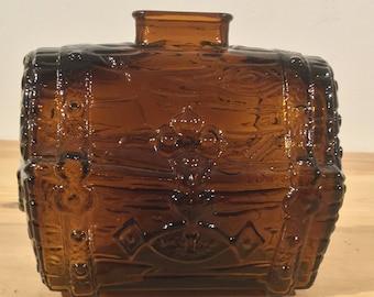 Vinatge Glass Pirates Chest Glass Bank Amber Glass Treasure Chest Bank Nautical Themed Bank Treasure Island Decor