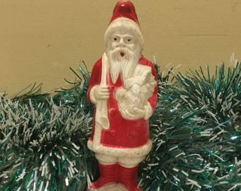 rare vintage 1950s celluloid santa figurine by irwin cellulose acetate santas 4 saint nick 1950s christmas decorations