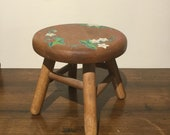 Sweet Little 7 Round Step Stool Handpainted Strawberries and White Flowers Child or Doll Sized Stool Rustic Farmhouse Wooden Foot Stool