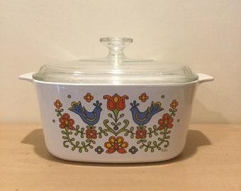 1975 Vintage Corningware Homestead Country Festive Friendship Bluebird
