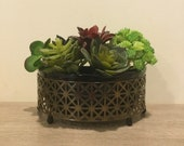 Vintage Mid Century Half Circle Metal Planter with Ceramic Pot Gold Toned and Black Unique Boho and Hollywood Regency Style Planter