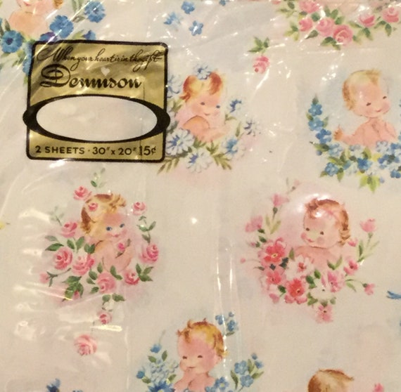 Vintage 1950s Baby Shower Wrapping Paper By Dennison New Old Etsy