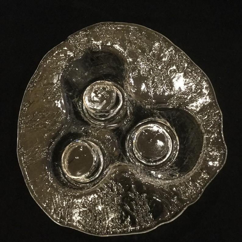 Unique Scandinavian Art Glass Votive Candleholder by Meri Lasi Finland Scandinavian Clear Art Glass Volcano Sculpture Tea Light Holder
