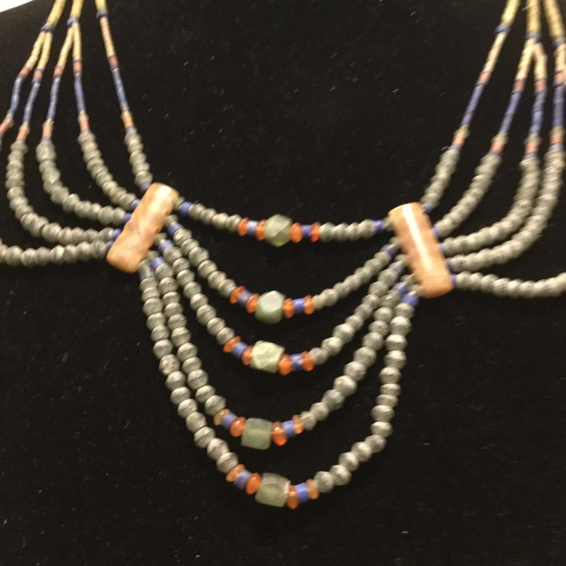 Unique Natural Stone Multi Strand Necklace American Indian Style Southwestern Jewelry Boho and Eclectic Jewelry