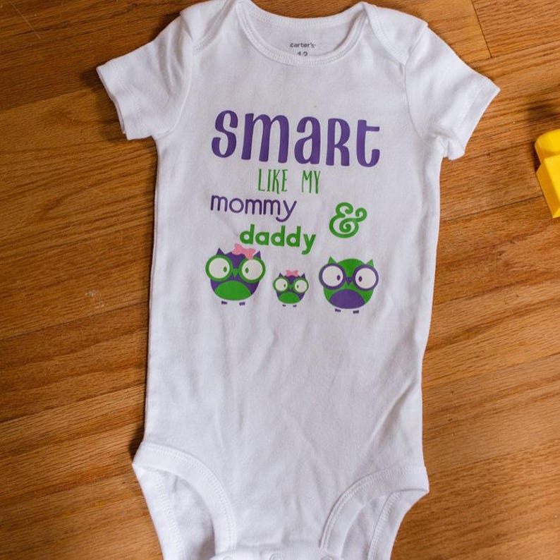 ba0cdbd67 Smart Like Mommy and Daddy Onesie Baby Bodysuit Boy Girl | Etsy