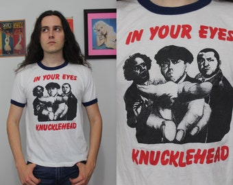 b6949933 80s vintage blue and white ringer tshirt tee 3 stooges in your eyes  knucklehead size XL Large