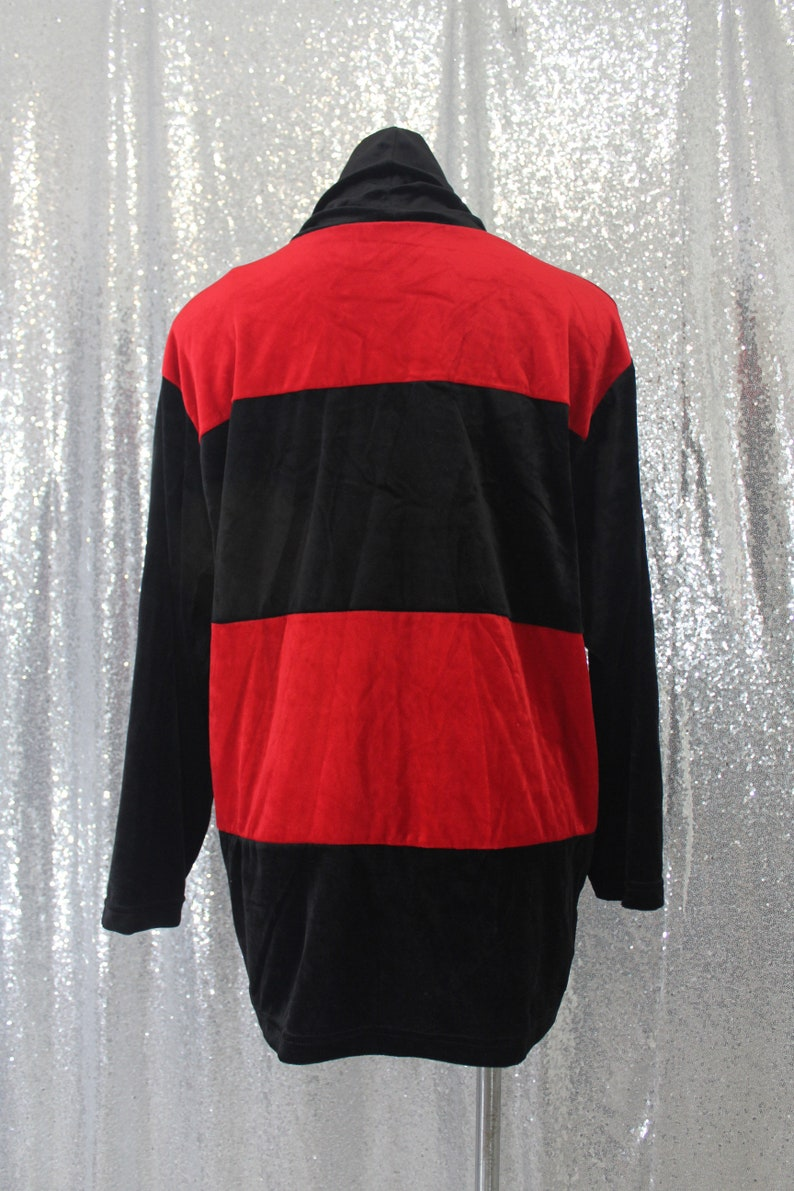 mod goth vampy holiday retro 90s vintage black and red wide horizontal stripe soft stretch velvet velour cowl turtle neck sweater size XL
