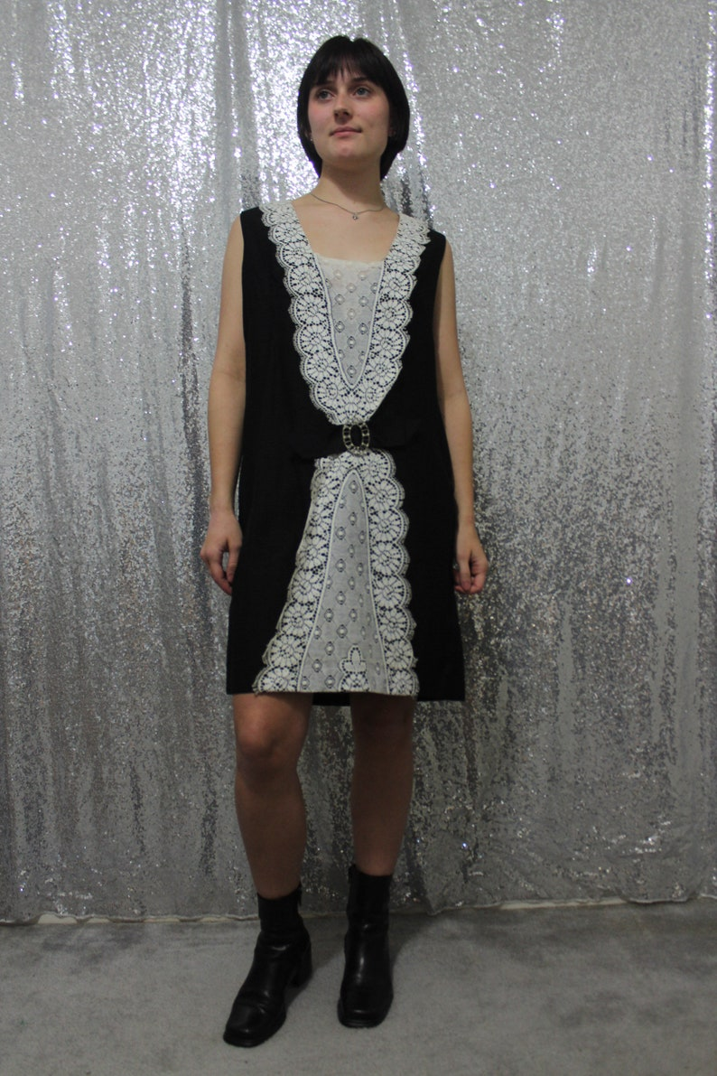 60s  70s shift dress in black and white lace by Mad Mod Moods by Mort California size small medium maids uniform