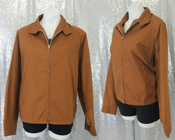 40s / 50s brown cotton light weight zip up utility