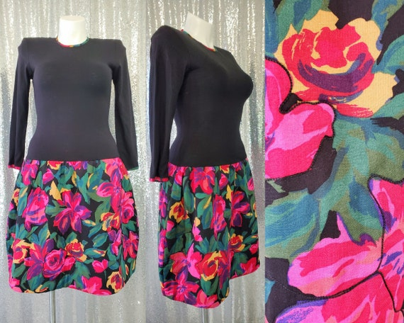 90s funky fugly flowers watercolor 80s vintage black drop waist dress with quilted pink /& yellow floral skirt and trim size medium large