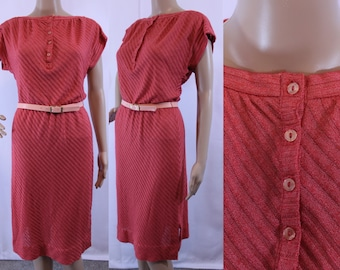 70s vintage coral red pink knit capped sleeve with matching belt size small - medium