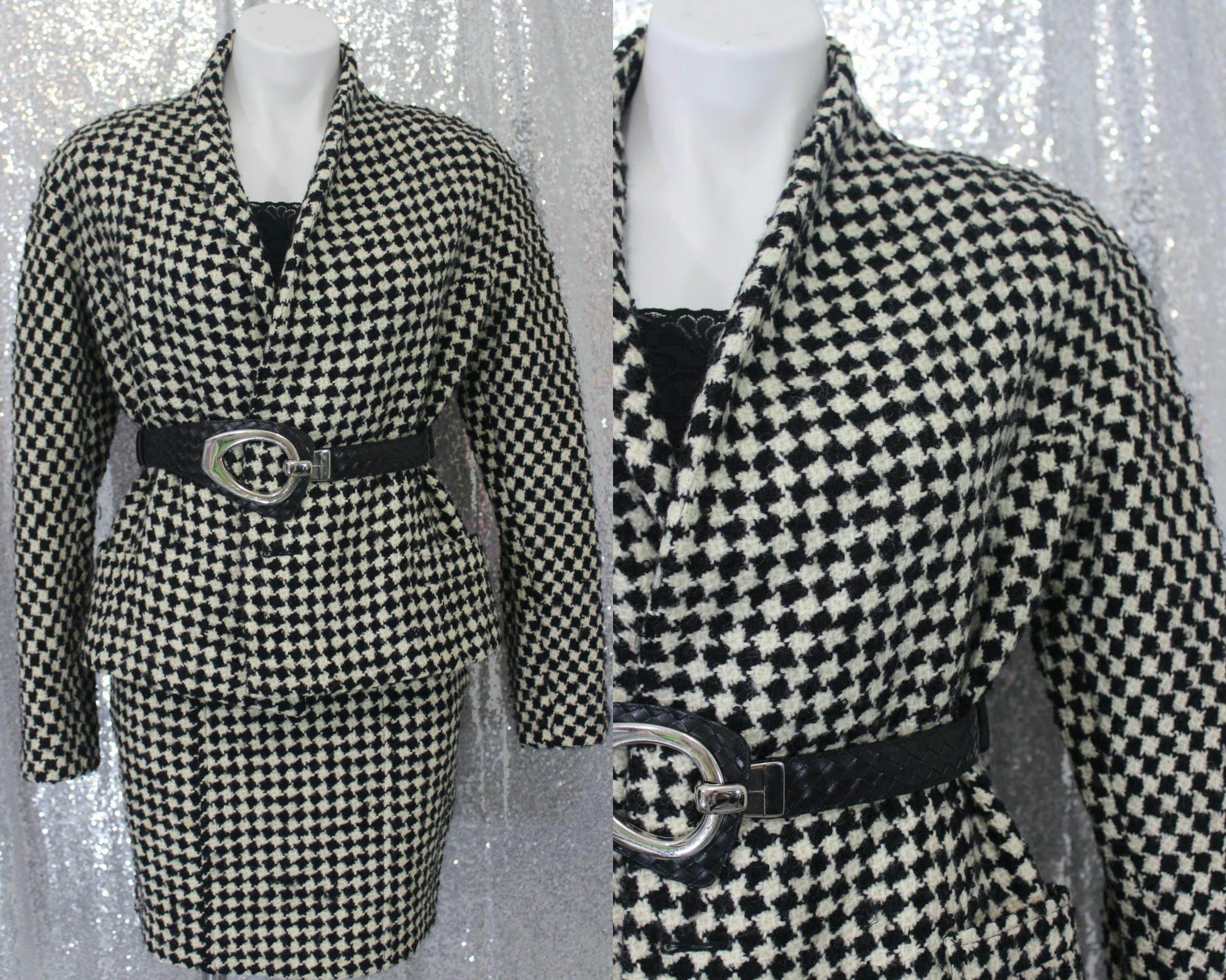 Vintage Scarf Styles -1920s to 1960s 80S 90S Vintage Neiman Marcus X Calvin Klein Black  White Checker Wool Blazer  Skirt Suit Set - Xs Small Iconic Business Designer Mod $0.00 AT vintagedancer.com