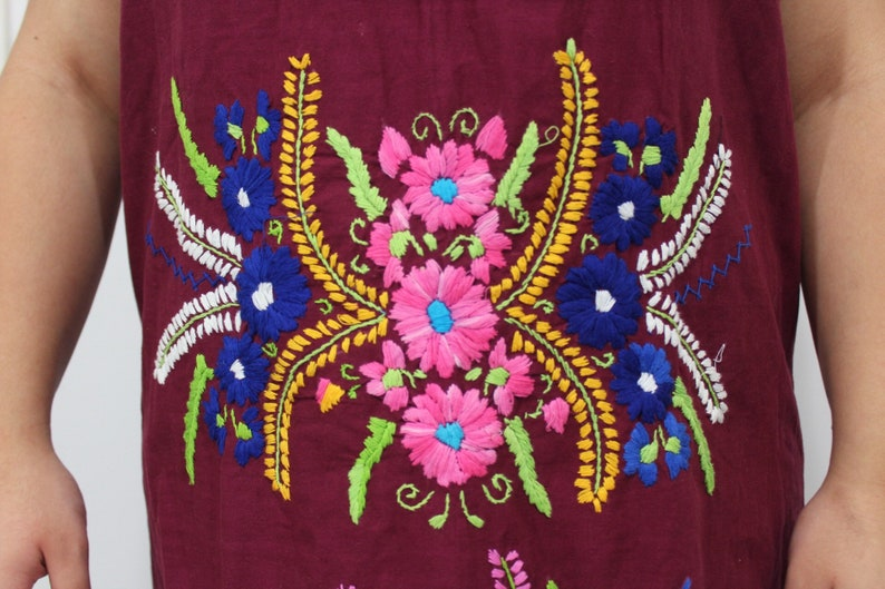 70s vintage maroon Oaxacan cototn mexican embroidered bohemian dress size medium large XL XXL