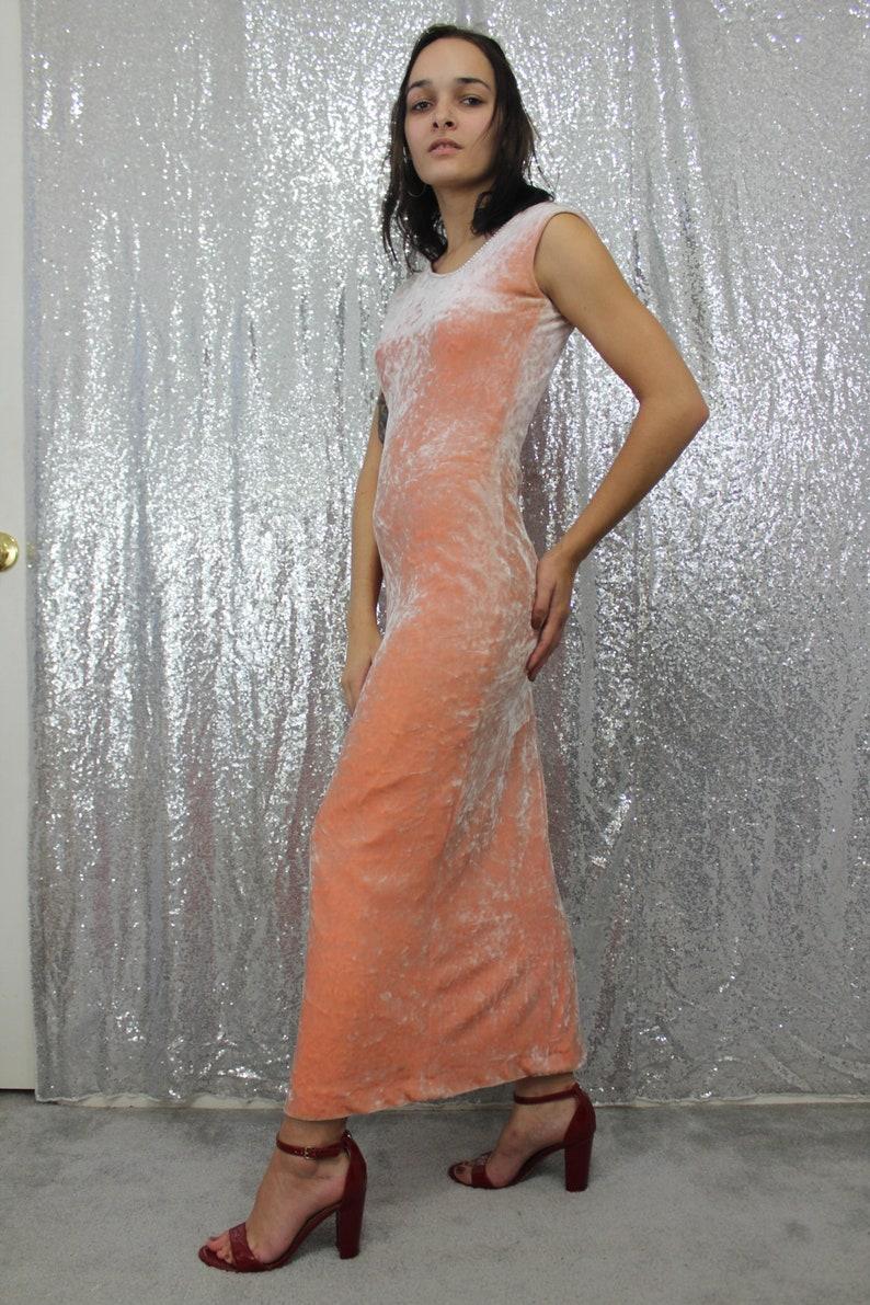 70s vintage pink peach velvet long maxi dress with asymmetrical neckline and rheinstone trim size XS small