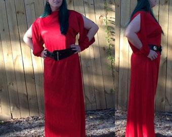Vintage 60s 70s Lilli Diamond designer long red dress with split sleeves modern size 12-14