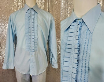 70s vintage pastel baby blue ruffle front Tuxedo shirt by After Six size Large 2XL XXL - dumb and dumber retro disco vtg sky