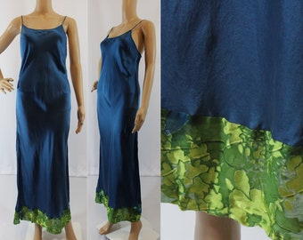 90s vintage dark teal 100% silk long gown with bright green velvet burnout trim by Patricia Fieldwalker size small
