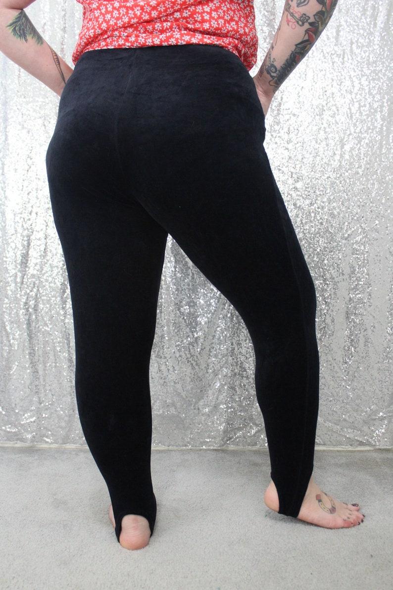 80s vintage black velour velvet stretchy leggings with stirrups size XL XXL Large