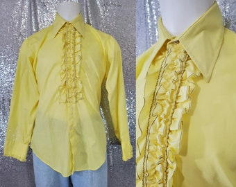70s vintage bright canary yellow ruffle front Tuxedo shirt by After Six size Large XL XXL 16.5 / 35 - dumb and dumber retro disco vtg banana