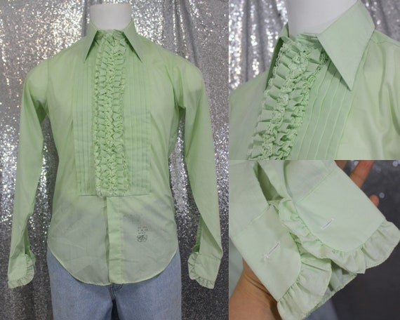 70s vintage pastel mint green ruffle pointed colla